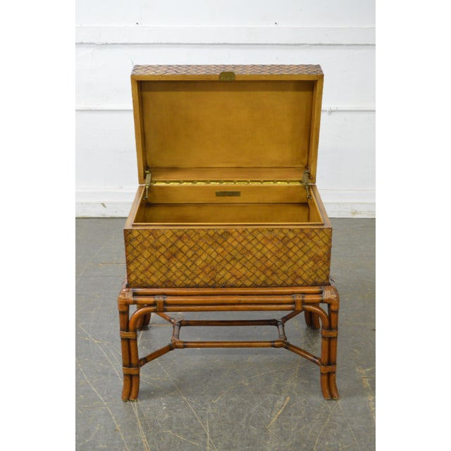 Campaign Maitland Smith Woven Leather Lidded Chest on Rattan Base For Sale - Image 3 of 11