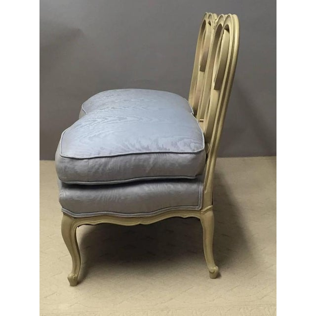 Hollywood Regency Style Painted Wood & Down Cushion Loveseat For Sale - Image 4 of 5