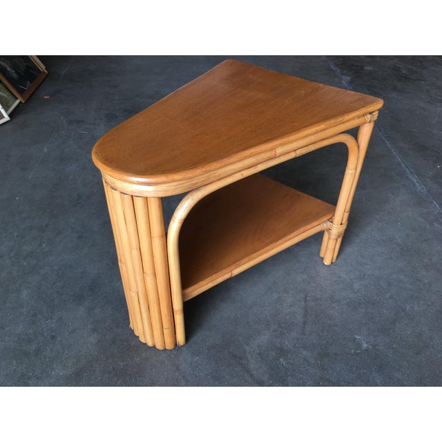 1950s Restored Rattan Wedge Drinks Table With Two-Tier Mahogany Tops For Sale - Image 5 of 7
