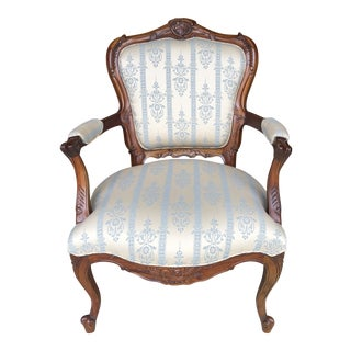 Vintage 1940s Wedgewood Blue Silk Carved Mahogany Bergere Chair For Sale