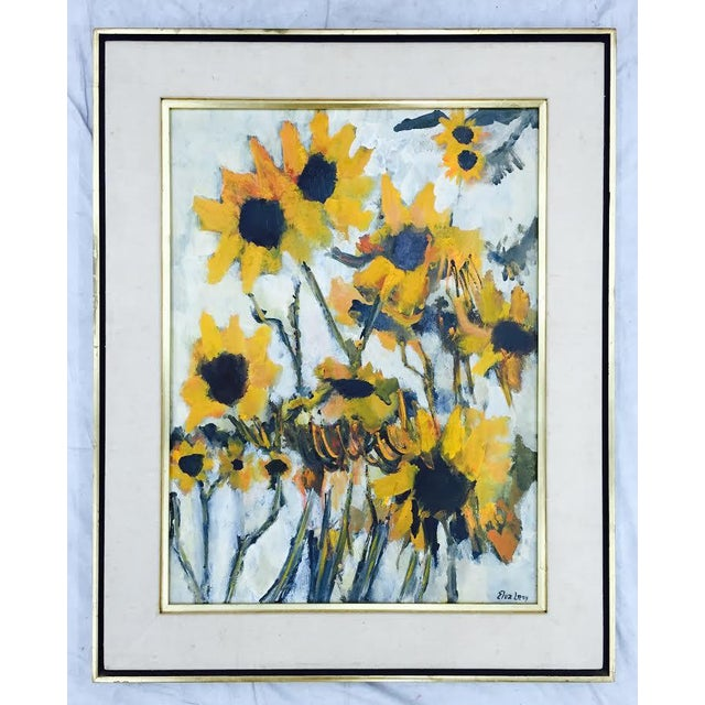 Still life flower study painting of golden yellow sunflowers. Painting is signed, matted & framed. Abstract. Mid-Century...