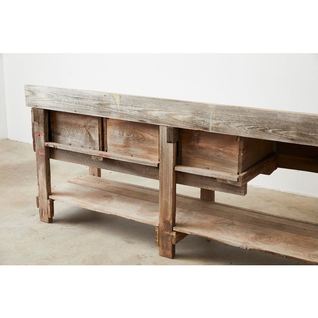 Rustic American Pine Three-Drawer Workbench Table For Sale - Image 10 of 13