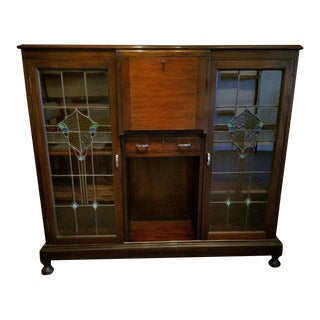 Mahogany Side by Side Bookcase Bureau w/ Stained Glass Doors c.1920