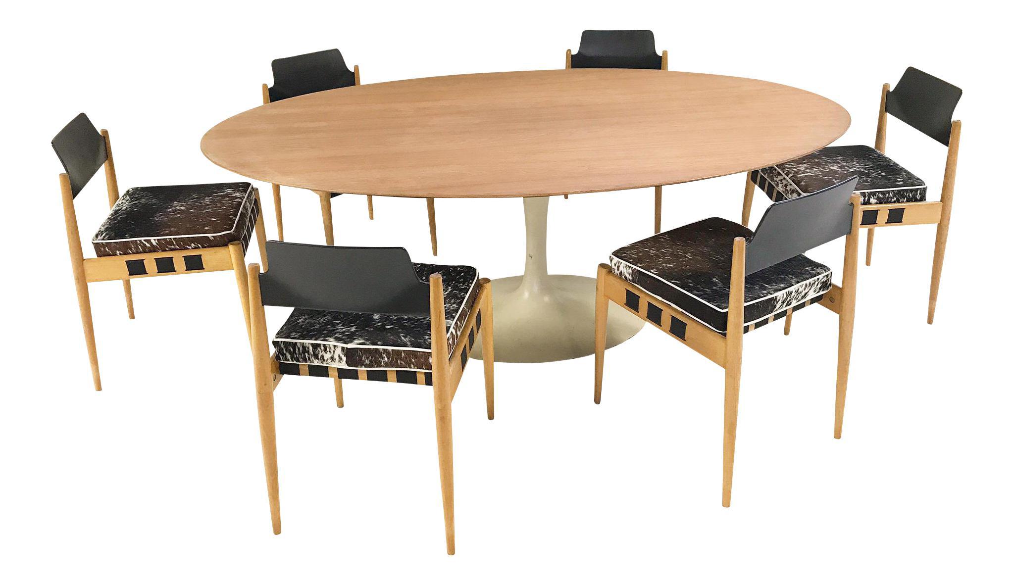 Vintage Eero Saarinen Tulip Table And Egon Eiermann Dining Chairs   Image 1  Of 11