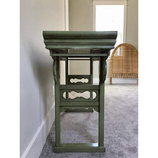 Asian 20th Century Asian Style Jade Wood Altar Console Table For Sale - Image 3 of 10