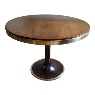 Mid-Century Modern Walnut and Brass Tulip Table For Sale