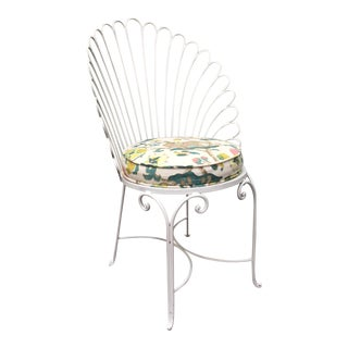 Hollywood Regency Shell Back Metal Side Chair