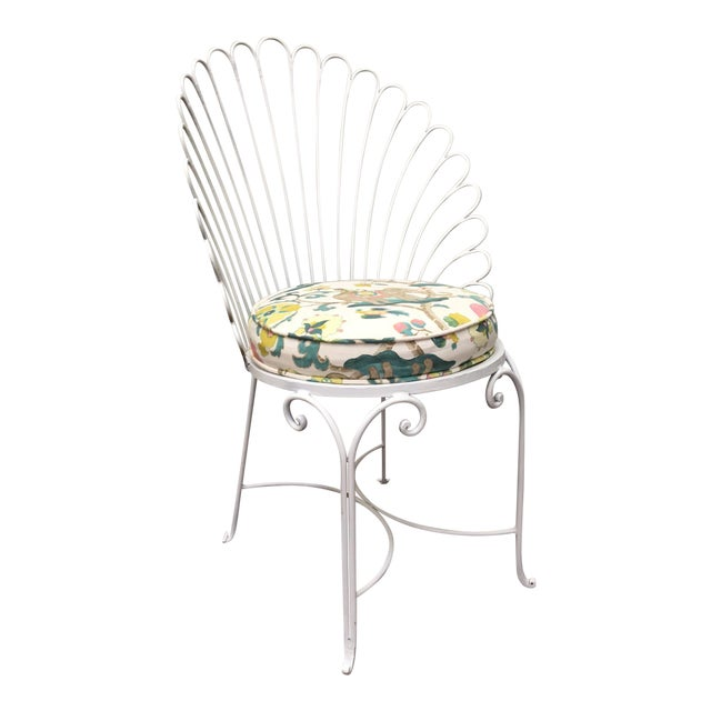 Hollywood Regency Shell Back Metal Side Chair - Image 1 of 8