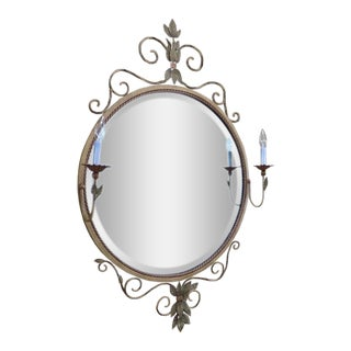 Fine Art Lamps Company Mirror With Tole Flowers For Sale