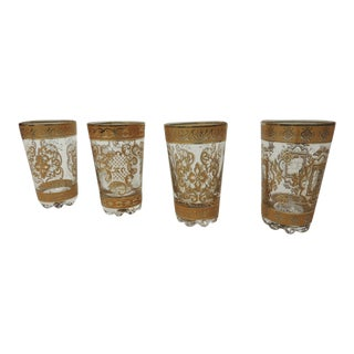 Set of Four Spanish Hand-Blown Gold Painted Tea Glasses For Sale