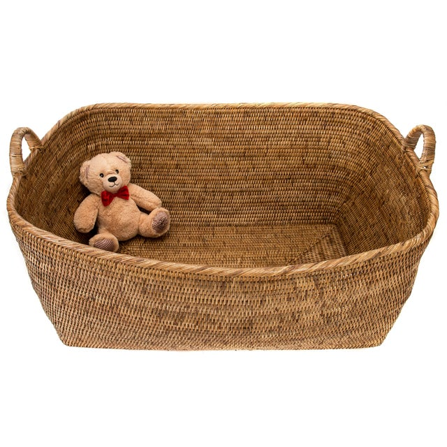 Artifacts Rattan Basket With Hoop Handles For Sale - Image 4 of 4