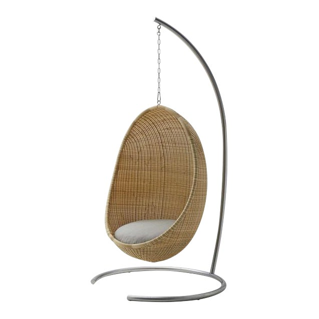 Nanna Ditzel Hanging Egg Chair - Natural - Sunbrella Sailcloth Seagull Cushion with Stand and Chain For Sale