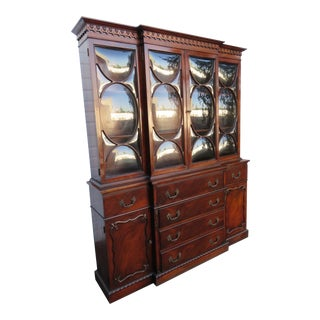 Mahogany Two Part China Display Cabinet Cupboard Secretary Desk For Sale