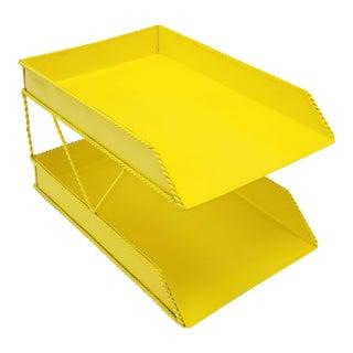 Yellow Metal 2 Tier Desktop File Organizer For Sale