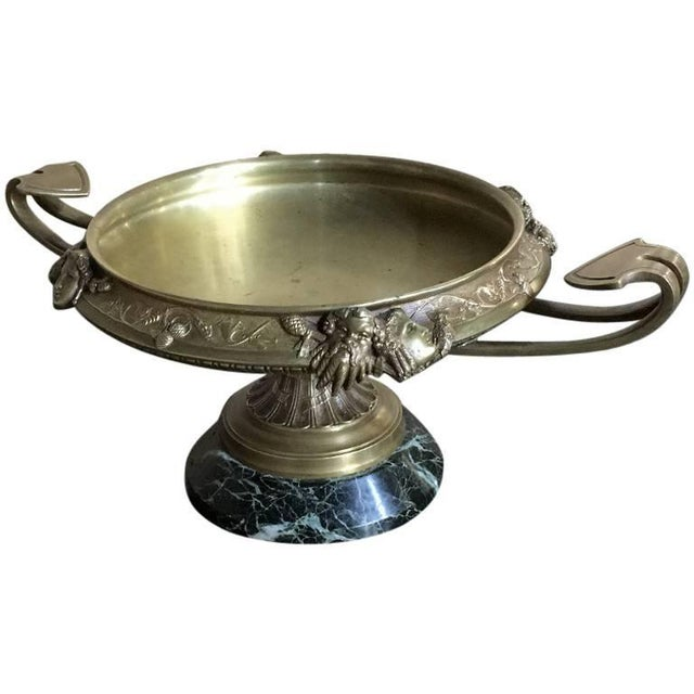 19th Century French Napoleon III Period Bronze Urn Centerpiece on Marble Base For Sale - Image 10 of 10