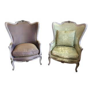 French Louis XV Style Painted Gilded Beechwood Bergere Chairs -Pair For Sale