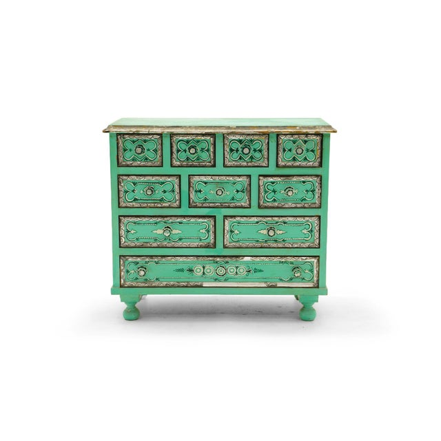 Beutiful Salvador Corona hand painted and signed cabinet with drawers, Mexico / Tucson, 1940s. Good original condition...