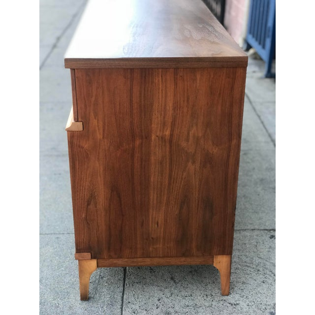 Brown Mid Century Credenza With Metal Pulls For Sale - Image 8 of 11