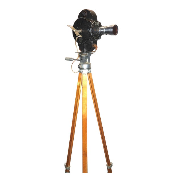 Hollywood Early 20th Century Movie Camera With Head and Wood Tripod Legs For Sale