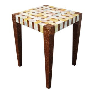 Vintage Designer Carlo Pessina Coconut Shell and Mother of Pearl End Table For Sale