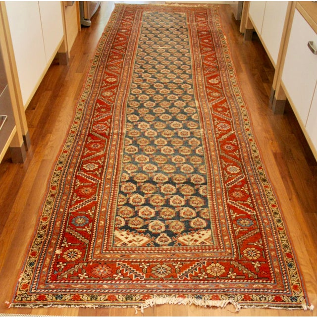 "Long Vintage Hand-Knotted Wool Rug - 13′5″ X 3'8"" - Image 3 of 11"