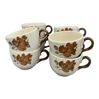 1960s Cottage Metlox Poppytrail's Woodland Gold Flat Cups - Set of 8 For Sale