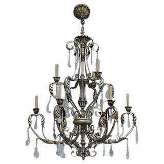 Ornate Silvergilt Iron Chandelier For Sale