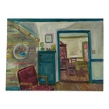 Image of Original Oil Painting of an Interior For Sale