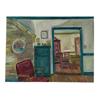 Original Oil Painting of an Interior For Sale