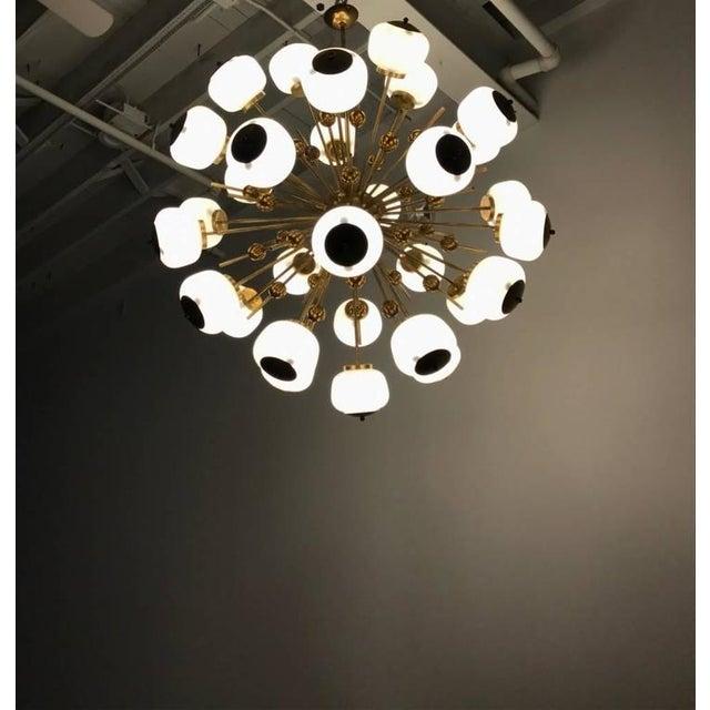White Italian Brass and Glass Sputnik Chandelier For Sale - Image 8 of 11