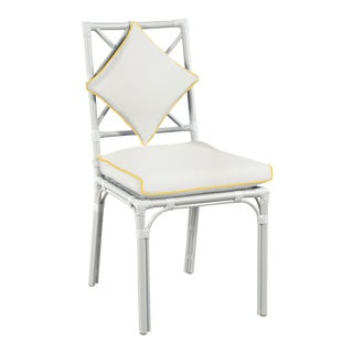 Haven Outdoor Dining Chair, White and Sunflower Yellow For Sale