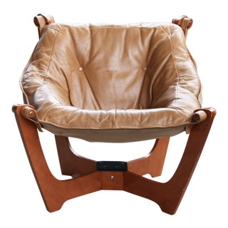 """Vintage Knutsen """"Luna"""" Sling Lounge Chair in Caramel Leather and Teak For Sale"""