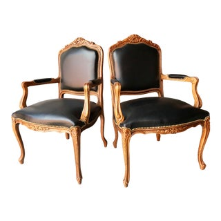Chateau d'Ax French Country Louis XV Style Italian Armchairs - a Pair