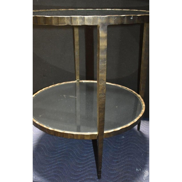 1960s Mid-Century Modern Hammered Iron Two Tiers Round Side Table For Sale - Image 4 of 9