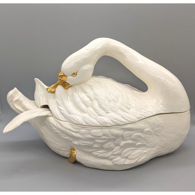 20th Century Cream and Gold Swan Soup Tureen and Ladle For Sale - Image 12 of 12