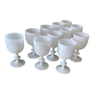 Set of 11 Opaline Milk Glass Goblets For Sale