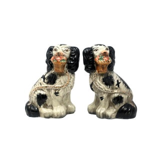 Vintage Black and White Staffordshire Dogs - a Pair