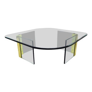 Pace Collection by Leon Rosen Attributed Thick Glass and Brass Cocktail Coffee Table For Sale