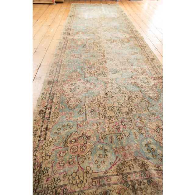 "Vintage Distressed Fragment Kerman Rug Runner - 4'1"" X 14'2"" For Sale In New York - Image 6 of 12"