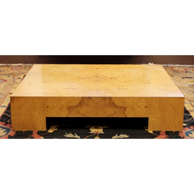 Mid-Century Modern Mid Century Modern Milo Baughman Large Low Square Burl Wood Coffee Table 1970s For Sale - Image 3 of 9