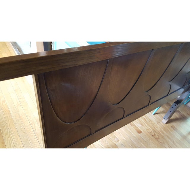 Vintage Walnut Broyhill Brasilia Full/Queen Headboard For Sale In Baltimore - Image 6 of 10