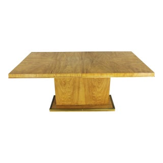 Modern Pedestal Dining Table W/ Brass Trim Attributed to Bernhardt Hibriten Flair Division For Sale