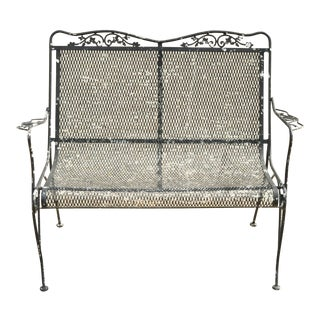 20th C Woodard Victorian Style Black Wrought Iron Outdoor Garden Bench Loveseat For Sale