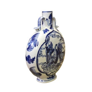 Chinese Blue White Porcelain People Theme Flask Shape Vase For Sale