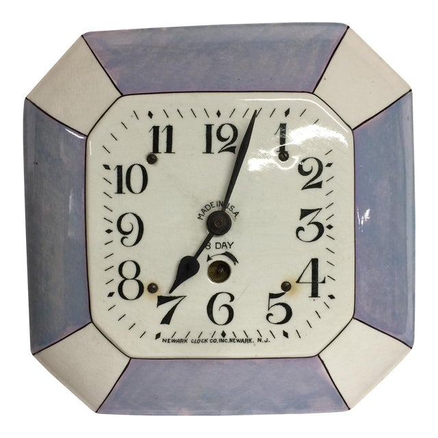 Vintage Delft Eight Day Clock Newark Clock Co. For Sale