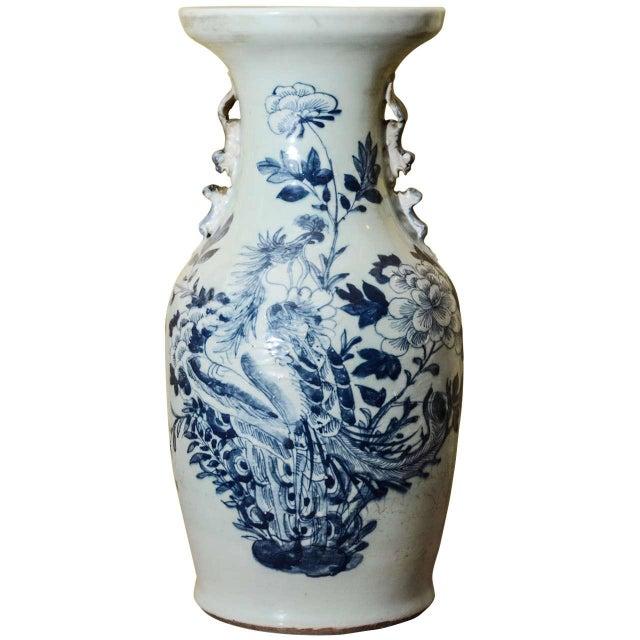 Blue & White Temple Vase - Image 1 of 7