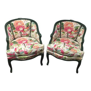 Vintage Green Floral Chairs - A Pair