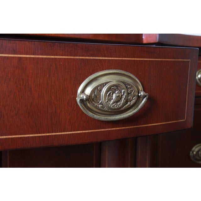 Gold Baker Furniture Hepplewhite Inlaid Mahogany Bow Front Sideboard Credenza For Sale - Image 8 of 13