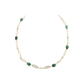 1970s Jade, Pearl & Etched Gold Necklace For Sale