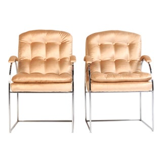 20th Century Milo Baughman Style Blush Velvet Chrome Chairs - a Pair For Sale